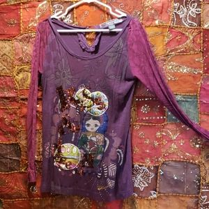 Desigual long sleeve purple and burgundy top. XL